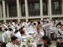 Diner en Blanc New York 2012 setup at Lincoln Center Plaza.